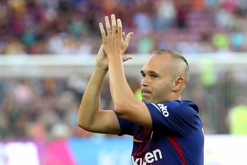 FC Barcelona's Spanish midfielder Andres Iniesta during a Joan Gamper Trophy match between FC Barcelona and Chapecoense at the Camp Nou stadium in Barcelona, Catalonia, Spain, 07 August 2017. (EPA Photo)