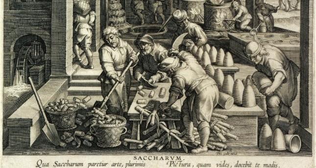 صورة تمثيلية لعملية تصنيع السكر في أحد المصانع
