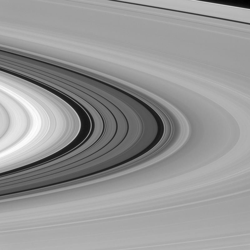 This Jan. 28, 2016 image made available by NASA shows Saturn's rings, including the darker series of bands called the Cassini Division between the bright B ring, left, and dimmer A ring, right