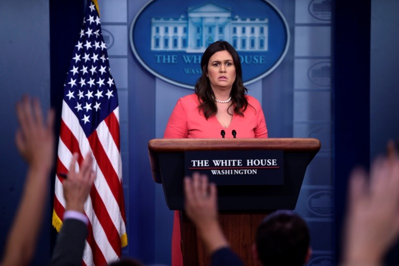 White House spokesperson Sarah Huckabee Sanders takes questions during a press briefing at the White House in Washington, DC on June 18, 2018. (AFP PHOTO)