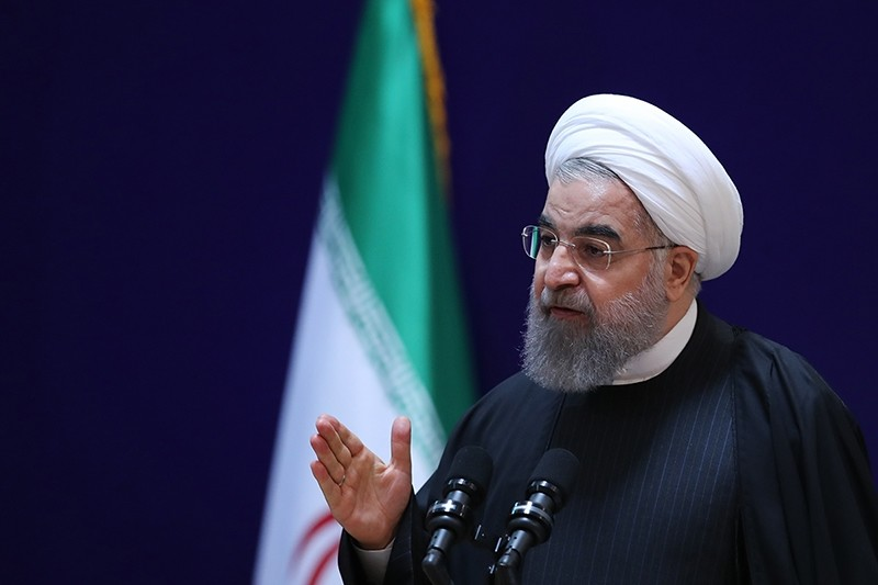 A handout picture provided by the office of Iranian President Rouhani shows him speaking at a conference in the capital Tehran, on Jan 28, 2017. (AFP Photo)