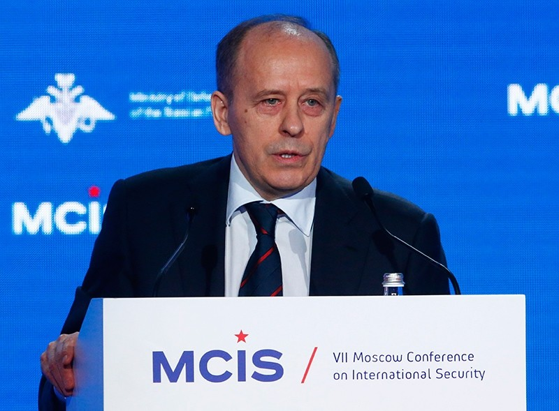 Alexander Bortnikov, the director of Russiau2019s Federal Security Service, or FSB, delivers a speech during the annual Moscow Conference on International Security (MCIS) in Moscow, Russia, April 4, 2018. (Reuters Photo)