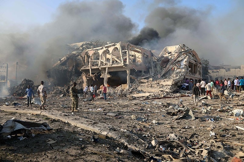 A general view shows the scene of an explosion in KM4 street in the Hodan district of Mogadishu, Somalia October 14, 2017 (Reuters Photo)