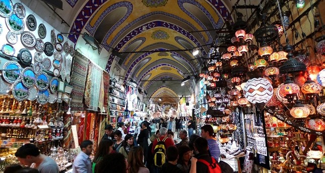 Tourists and locals visit Istanbul's historic Grand Bazaar, one of the city's main tourist attractions. Sabah Photo