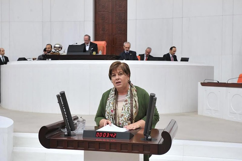 This file photo shows CHP deputy Elif Dou011fan Tu00fcrkmen speaking at a General Assembly session in Parliament. (DHA Photo)