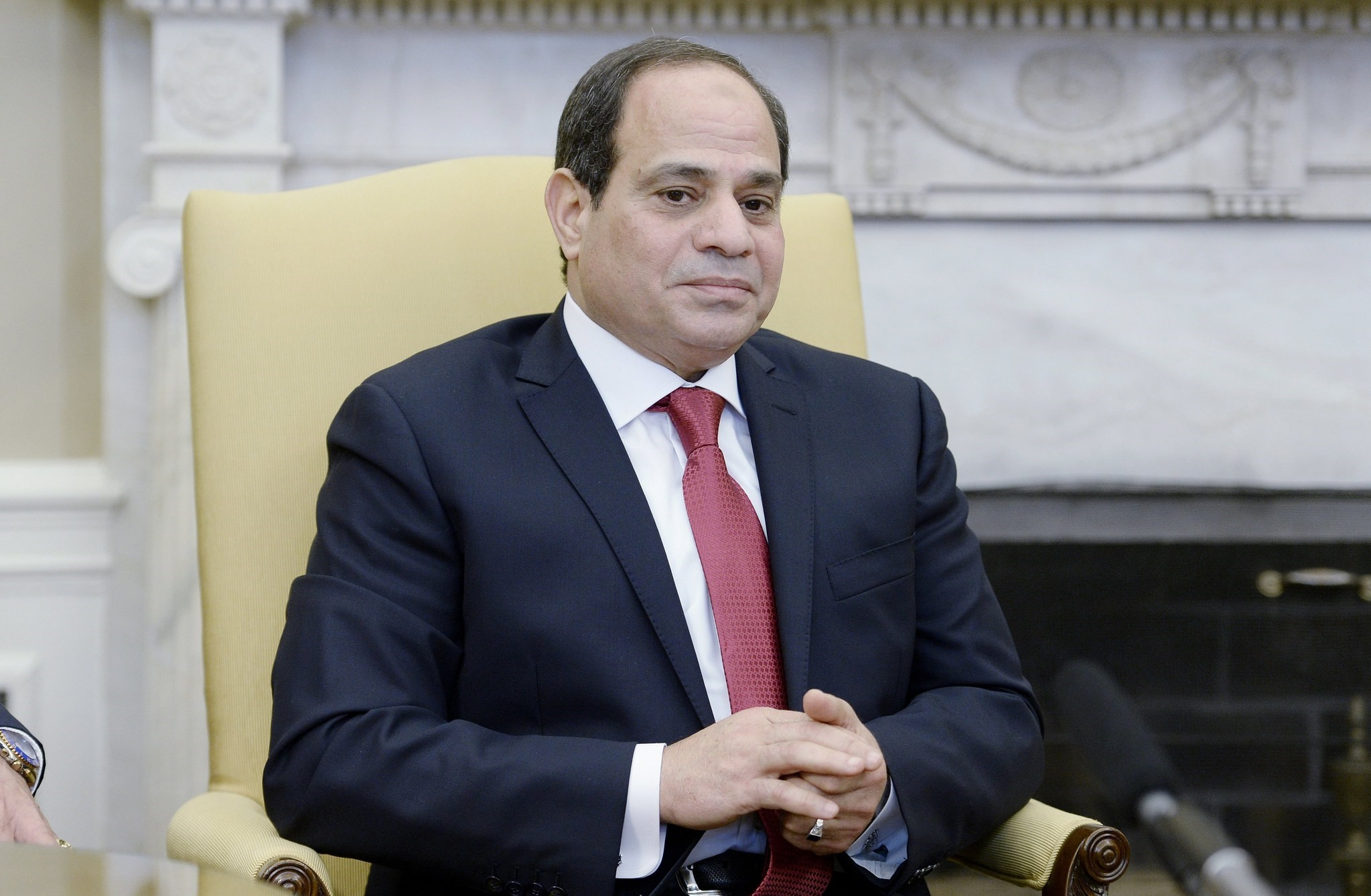 President Abdel Fattah Al Sisi of Egypt looks on in the Oval Office of White House during a meeting with US President Donald J. Trump in Washington. (EPA Photo)