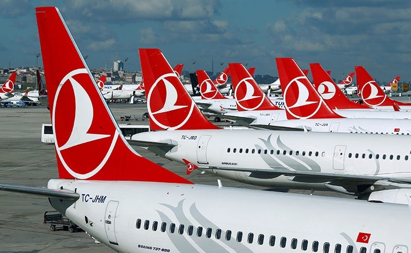 Turkish Airlines aircraft are parked at the Atatu00fcrk International Airport in Istanbul, Turkey, Dec. 3, 2015. (Reuters Photo)