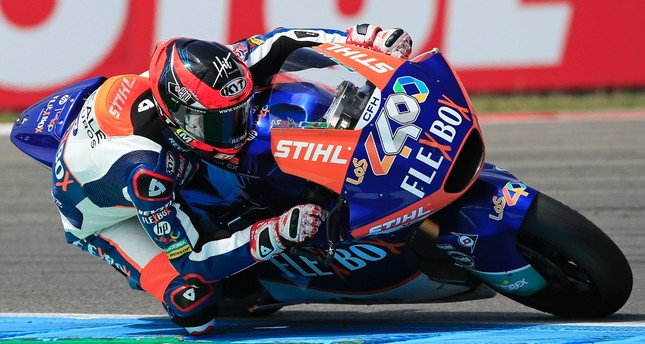 Spain's rider Augusto Fernandez of the FLEXBOX HP 40 steers his motorcycle at the Moto2 race during the Dutch Grand Prix in Assen, northern Netherlands, Sunday, June 30, 2019.