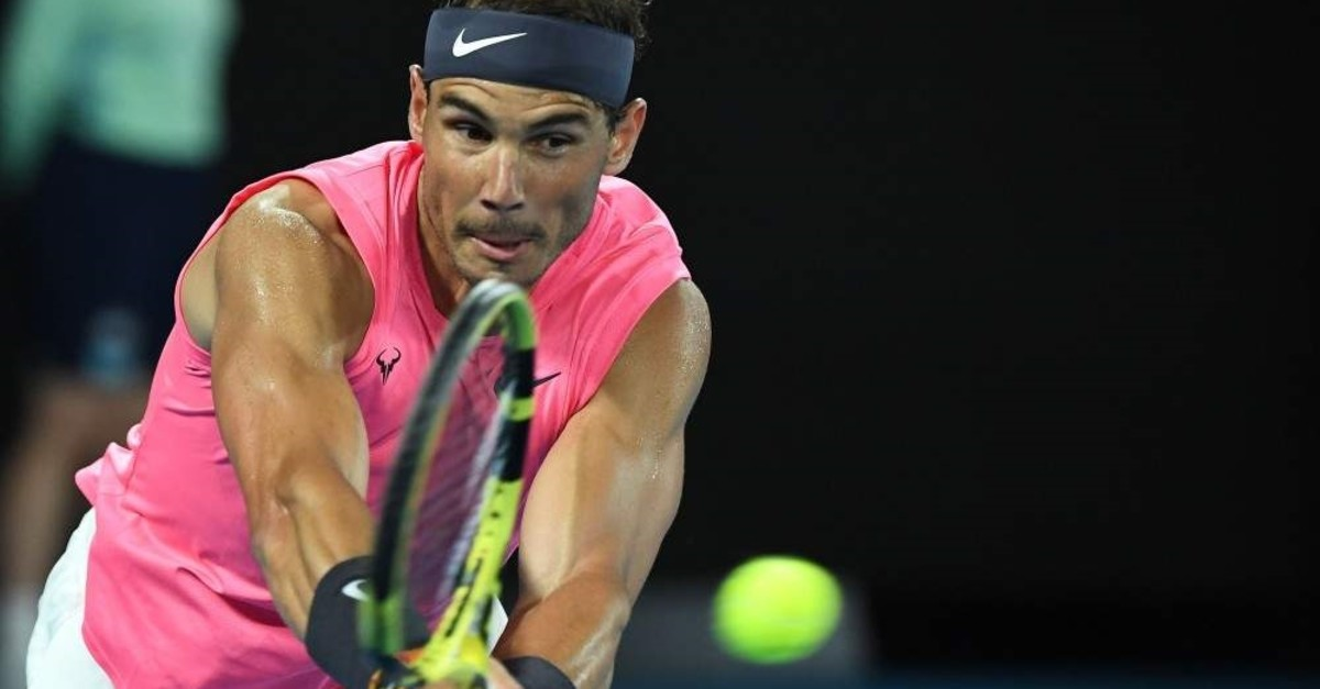 Nadal hits a return against Delbonis during their match at the Australian Open, Jan. 23, 2020.