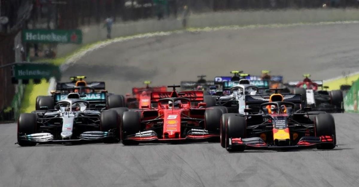 Red Bull's Max Verstappen, Ferrari's Sebastian Vettel and Mercedes' Lewis Hamilton in action at the start of the race during F1 Brazilian GP at Autodromo Jose Carlos Pace, Interlagos, Sao Paulo, Nov. 17, 2019. (Reuters Photo)