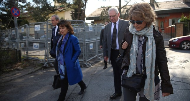 After being denied entry to the Saudi consulate, Agnes Callamard R said that they just wanted to get a sense of the building while calling on the authorities to grant them access, Jan. 29, 2019.