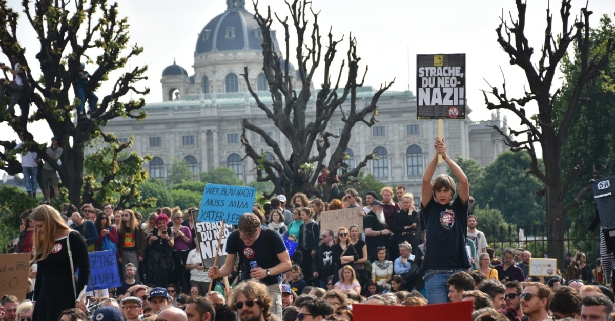 Demonstrators protest the controversial leaked footage of Heinz-Christian Strache, a leading politician of Austria's far-right Freedom Party (FPu00d6) and call for snap elections, in the capital Vienna, May 18, 2019.
