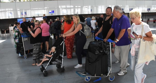 British tourists arrive at Dalaman Airport in the southwestern province of Muğla, Sept. 26, 2019.