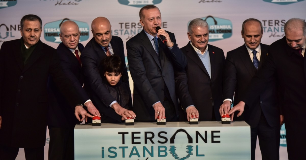President Recep Tayyip Erdou011fan and other officials attended the groundbreaking ceremony for the Tersane Istanbul project at Istanbul's historic Haliu00e7 Shipyard, Feb. 23, 2019.