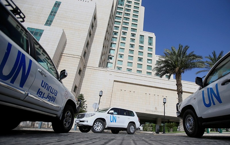 The United Nation vehicle carrying the Organisation for the Prohibition of Chemical Weapons (OPCW) inspectors is seen in Damascus, Syria April 18, 2018. (Reuters Photo)