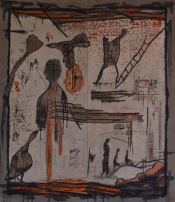 Dhuha Alkatib (Baghdad, Iraq), mixed technique on canvas, 245 x 280 cm.