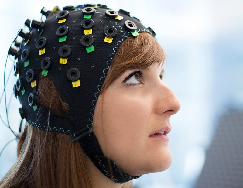 The NIRS/EEG brain-computer interface system is worn by a model in Switzerland in this undated photograph released in London, Britain, January 31, 2017. (Reuters Photo)