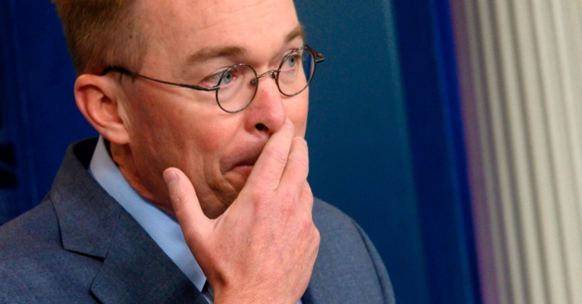 In this file photo taken on October 17, 2019 White House Acting Chief of Staff Mick Mulvaney speaks during a press briefing at the White House in Washington, DC. (AFP Photo)