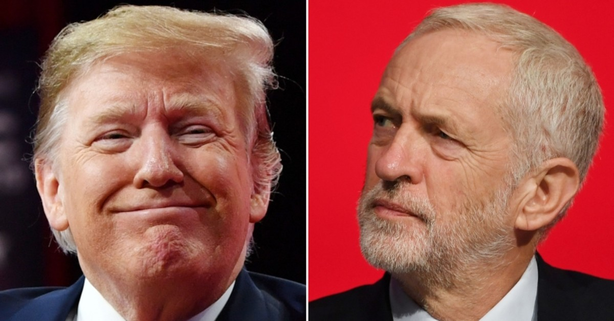 A combination of pictures created in London on April 26, 2019 Britain's opposition Labour Party leader Jeremy Corbyn (R) on September 24, 2018 and US President Donald Trump (L) (AFP Photo)