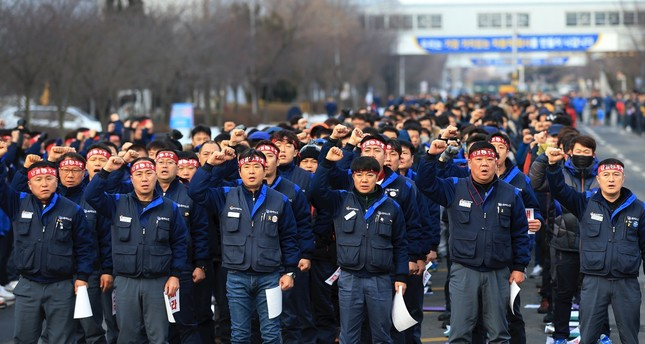 General Motors Korea union workers stage a rally against the U.S. carmaker's plan to close the plant, Gunsan, South Korea, Feb. 14, 2018.