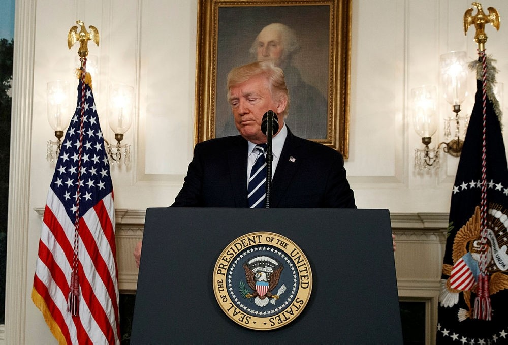 President Donald Trump makes a statement about the mass shooting in Las Vegas, Monday, Oct. 2, 2017 at the White House in Washington. (AP Photo)