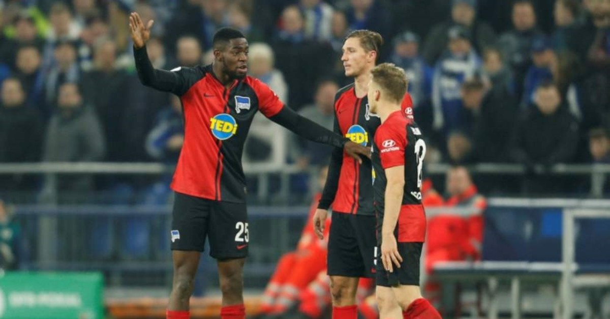Hertha BSC's Jordan Torunarigha reacts after being sent off (Reuters Photo)