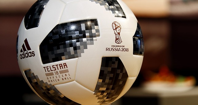 The current official game ball bearing the logo of the Russia 2018  soccer World Cup is on display during the adidas annual balance news conference in Herzogenaurach, Germany, Wednesday, March 14, 2018. (AP Photo)
