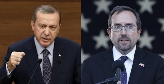 President Erdou011fan and US Ambassador Bass (R)