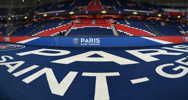 The logo of the Paris Saint-Germain is pictured prior to the French L1 football match between Paris Saint-Germain (PSG) and Lille (LOSC) at the Stade des Princes, in Paris, November 2, 2018. (AFP Photo)