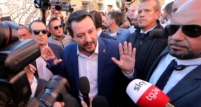 Italian Interior Minister Matteo Salvini speaks to reporters in Rome, October 24, 2018. (Reuters Photo)