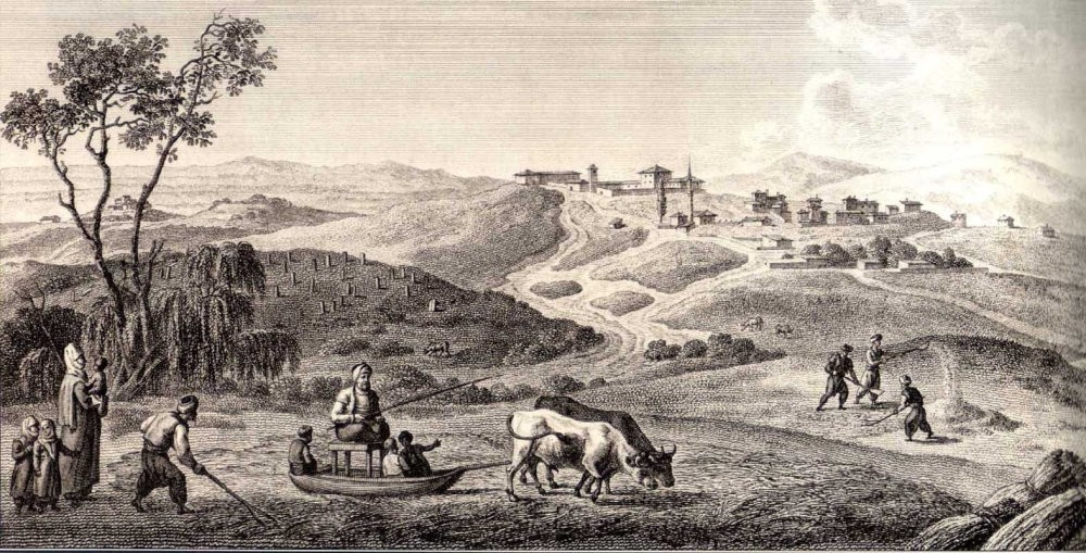 A gravure shows Ottoman farmers working on their fields.