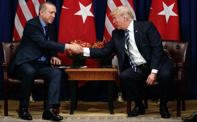 President Erdoğan (L) shakes hands with U.S. President Trump during a meeting at the Palace Hotel during the United Nations General Assembly, New York, Sept. 21, 2017.