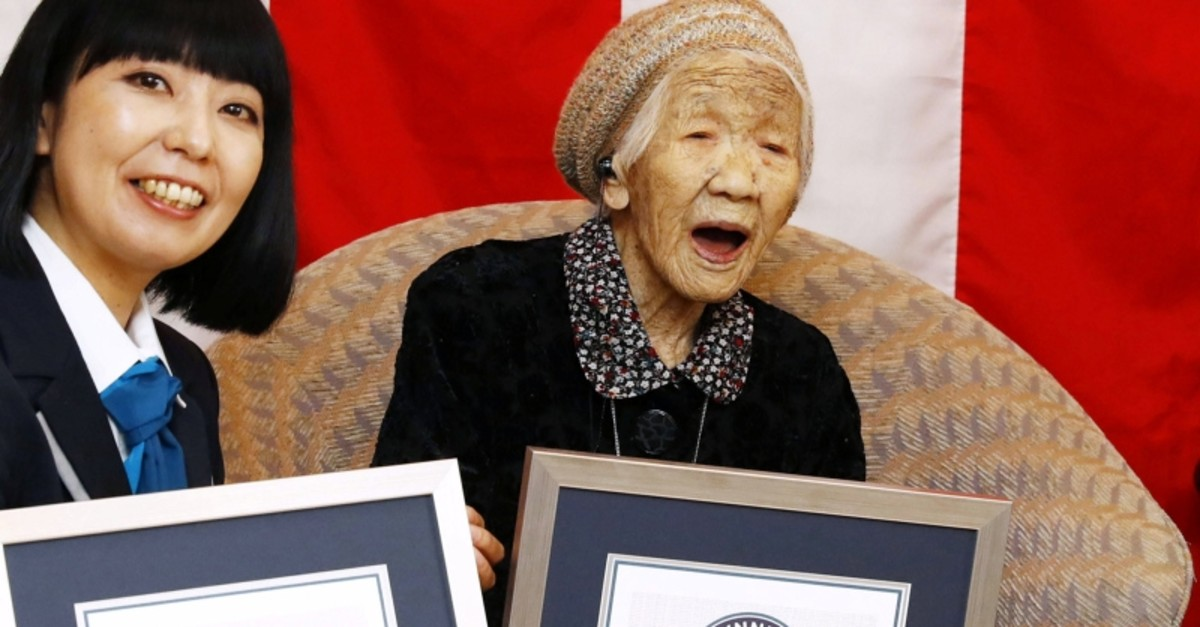 116-year-old Japanese woman Kane Tanaka celebrates during a ceremony to recognise her as the world's oldest person living and world's oldest woman living by the Guinness World Records in Fukuoka, Japan March 9, 2019 (Reuters Photo)