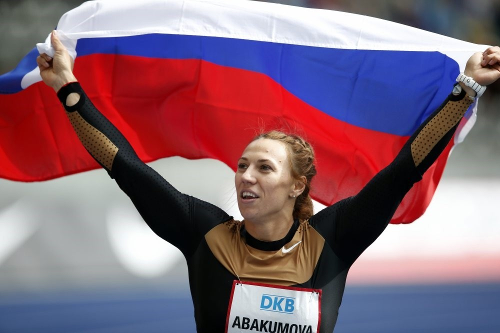 Russia's Maria Abakumova celebrates after winning the Women's Javelin Throw competition at the ISTAF Athletics Meeting in Berlin, Sept. 1, 2013. She was one of the silver medal winners whose doping retests reportedly came back positive.
