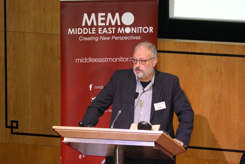 Saudi dissident Jamal Khashoggi speaks at an event hosted by Middle East Monitor in London Britain, September 29, 2018. (Reuters Photo)