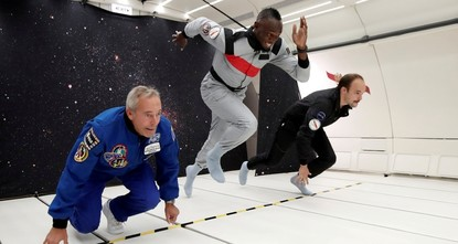 Bolt proves he's fastest man on earth and space in zero-gravity race