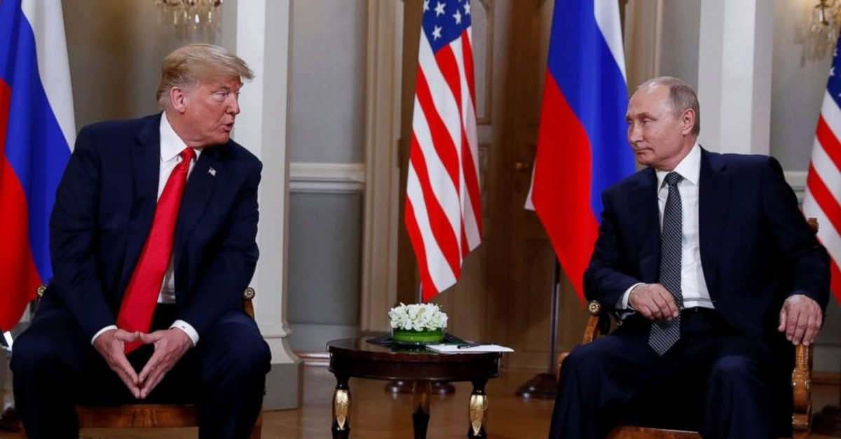 U.S. President Donald Trump and Russian President Vladimir Putin (R) during a meeting on bilateral relations, Helsinki, Finland, July 16, 2018.