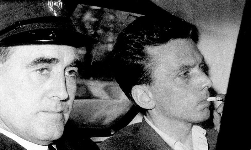 Ian Brady (R) being driven to court in 1965 (AP)