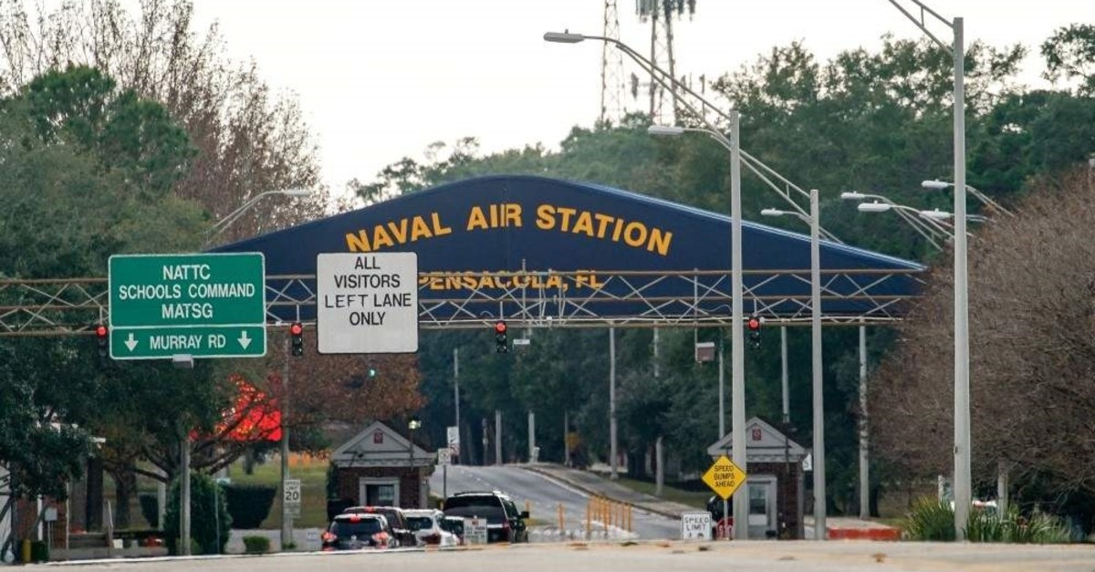 A general view of the atmosphere at the Naval Air Station Pensacola in Florida, Dec. 6, 2019. (AFP Photo)