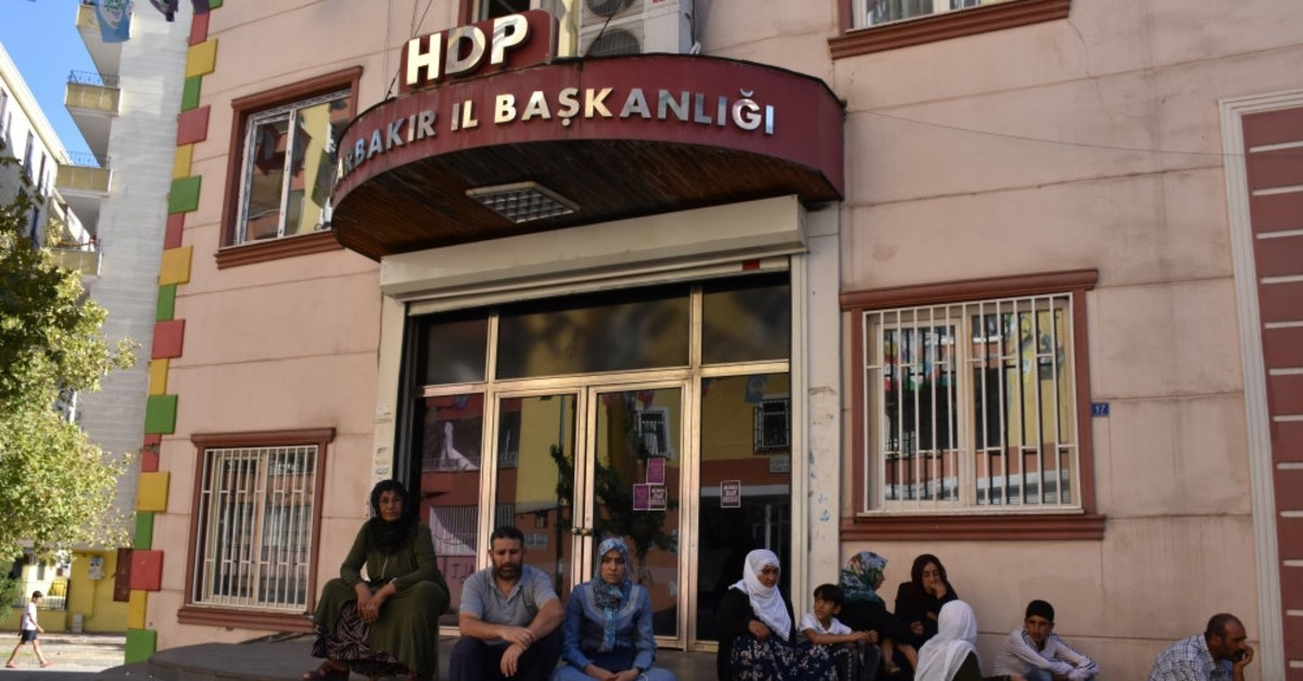 Mothers stage a sit-in protest in front of HDP's headquarters in southeastern Diyarbaku0131r province, demanding their sons back from the PKK, Sept. 4, 2019.