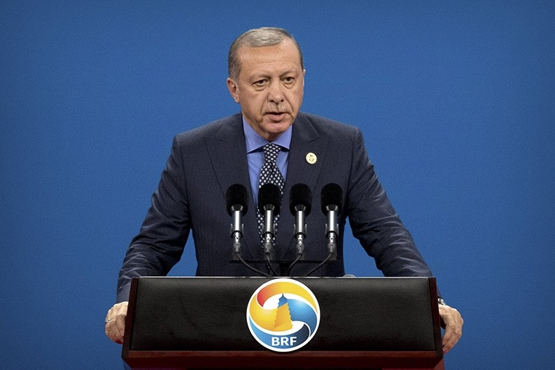President Recep Tayyip Erdou011fan speaks during the opening ceremony of the Belt and Road Forum (BRF) at the China National Convention Center (CNCC) in Beijing, China, 14 May 2017 (EPA Photo)