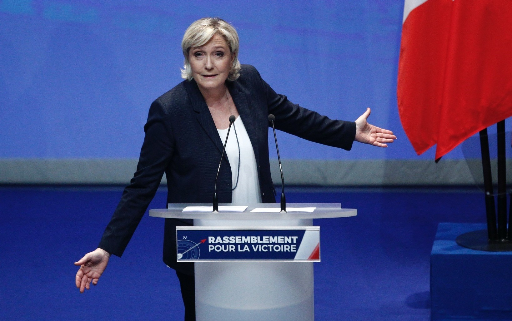 French far-right leader Marine Le Pen delivers a speech at a party congress, Lille, France, March 11.