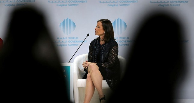 Adena Friedman, President and Chief Executive Officer Nasdaq, talks about How to Tame a Volatile Market during the World Government Summit in Dubai, United Arab Emirates, Monday, Feb. 12, 2018. (AP Photo)