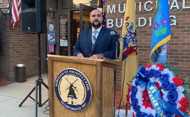 Prospect Park Mayor Mohamed Khairullah speaks at a 9/11 commemoration event. (Photo: Facebook / @MayorKhairullah)
