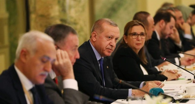 President Recep Tayyip Erdo?an, third from left, attended a roundtable meeting with Turkish and American businesspeople, Washington, D.C., Nov. 12, 2019.