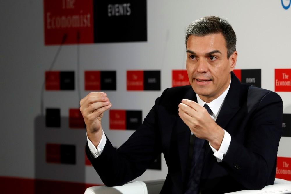 Spain's Prime Minister Pedro Sanchez speaks during a conference, Madrid, Nov. 20.