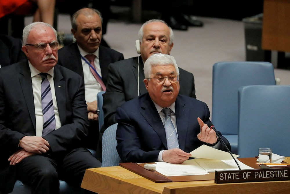 Palestinian President Mahmoud Abbas speaks during a meeting of the United Nations (UN) Security Council at UN headquarters in New York, U.S., February 20, 2018.  (REUTERS Photo)