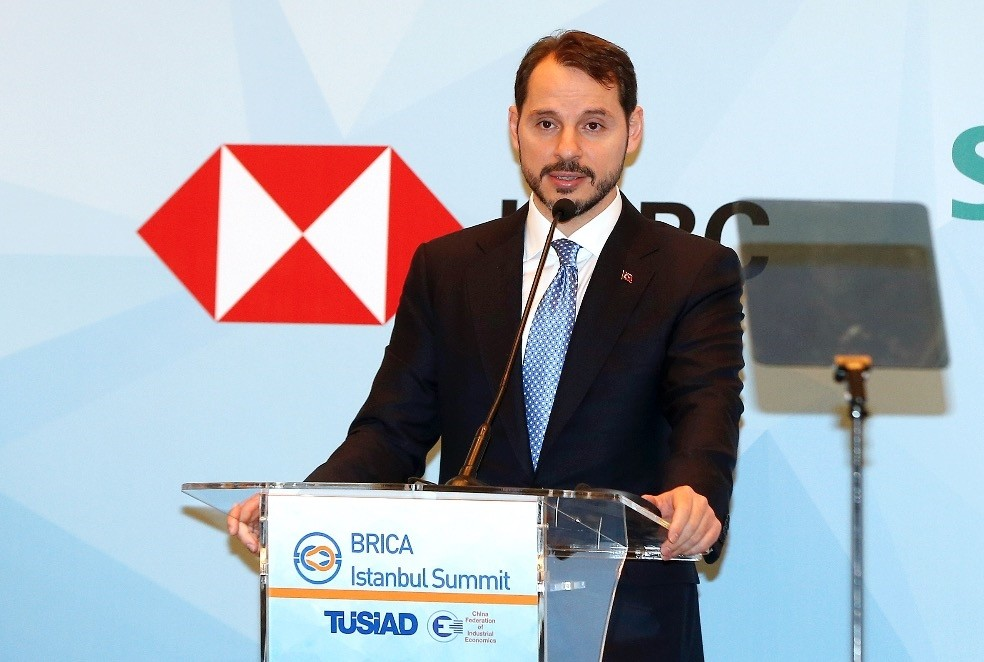 Treasury and Finance Minister Berat Albayrak delivers a speech at the Belt & Road Industrial and Commercial Alliance (BRICA) Summit in Istanbul, yesterday.