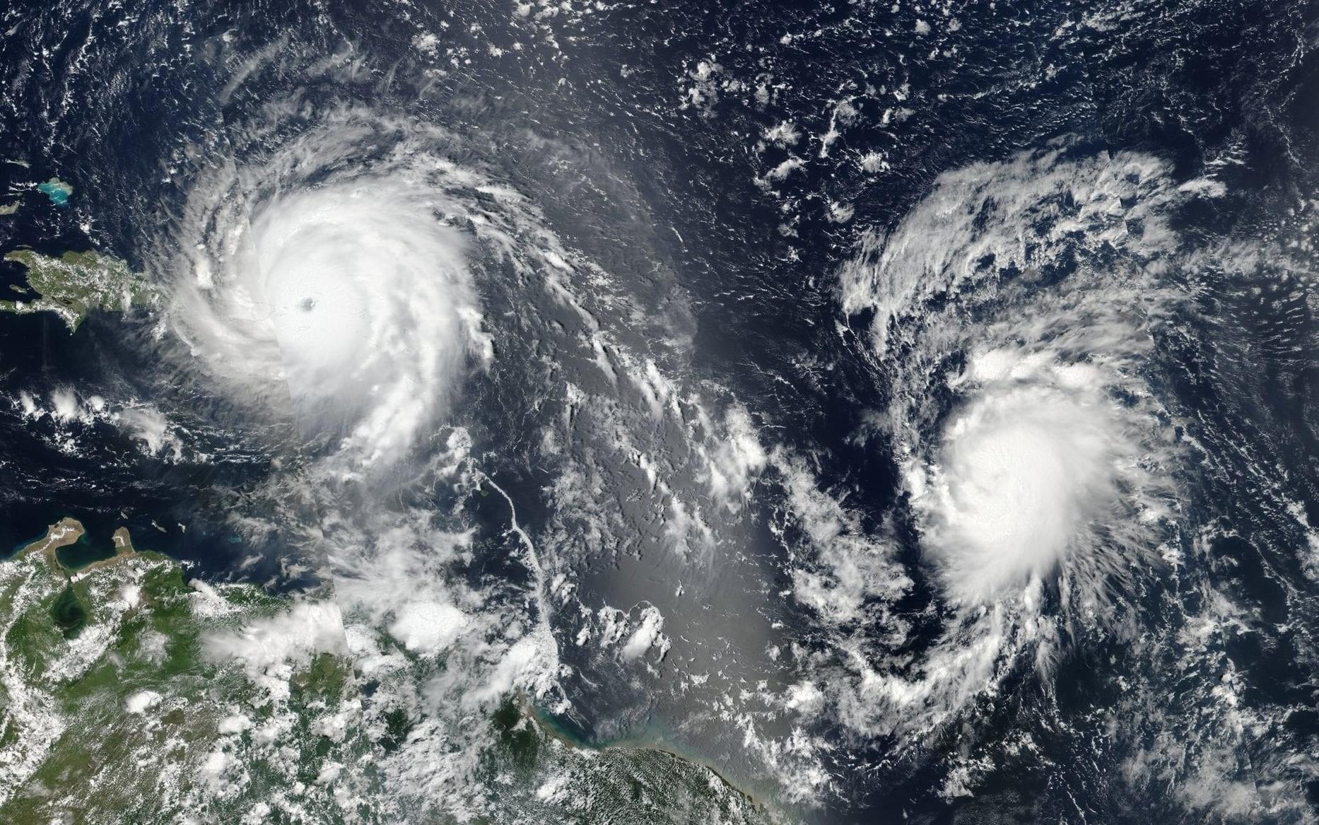 A Nasa satellite image shows Hurricane Irma (left) and Hurricane Jose (right) in the Atlantic Ocean. (Source: NASA)