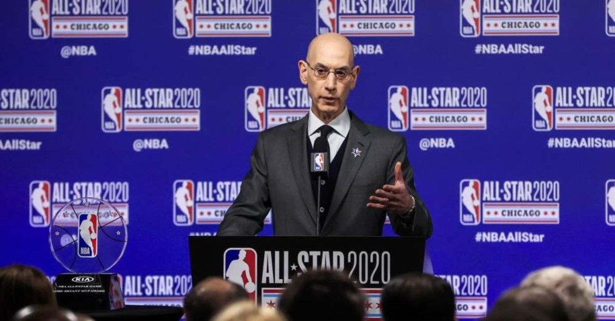NBA Commissioner Adam Silver speaks at a press conference at the United Center in Chicago, Illinois, U.S., Feb. 15, 2020.
